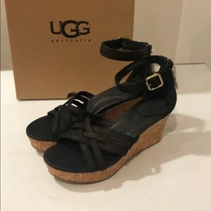 ❤️New Ugg Lillie Black Leather Wedge shoes Sz 8